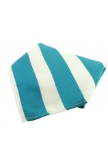 Soprano Teal And White Striped Polyester Pocket Square