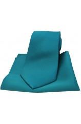 Soprano Teal Satin Silk Tie and Pocket Square