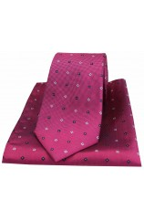 Soprano Tiny Flowers Wine Silk Tie and Pocket Square
