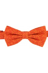 Soprano Tone On Tone Orange Leaves Fashionable Woven Silk Bow Tie