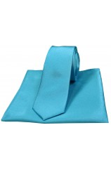 Soprano Turquoise Satin Silk Thin Tie and Pocket Square