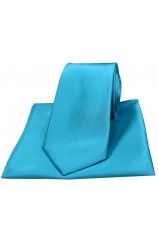 Soprano Turquoise Satin Silk Tie and Pocket Square