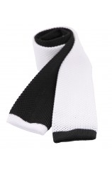 Soprano Two Tone Black and White Knitted Thin Polyester Tie