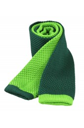 Soprano Two Tone Green and Lime Knitted Thin Polyester Tie