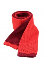 Soprano Two Tone Red and Wine Knitted Thin Polyester Tie