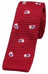 Soprano White and Blue Teardrop Paisley on Red Ground Thin Knitted Polyester Tie