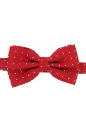 Soprano White Pin Dot Fashionable Woven Silk Bow Tie On Red Ground