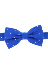 Soprano White Polka Dot Fashionable Woven Silk Bow Tie On Royal Ground