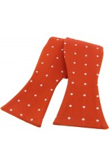 Soprano White Polka Dot On Burnt Orange Ground Silk Self Tied Bow