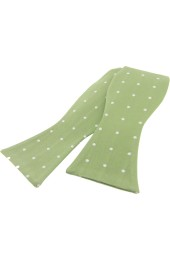 Soprano White Polka Dot On Light Green Ground Silk Self Tied Bow