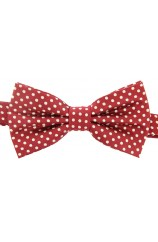 Soprano White Polka Dot Woven Silk Bow Tie On Red Ground