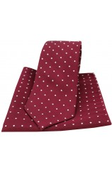 Soprano Wine and White Pin Dot Silk Tie and Pocket Square