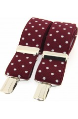 Soprano Wine and White Polka Dot 35mm X Style Braces