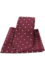 Soprano Wine and White Polka Dot Silk Tie and Pocket Square