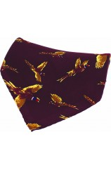 Soprano Wine Flying Pheasant Silk Pocket Square