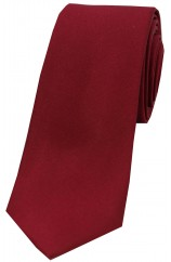 Soprano Wine Satin Silk Thin Tie