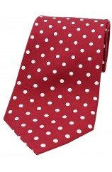 Soprano Wine with White Polka Dots Mens Printed Silk Tie