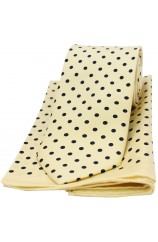 Soprano Yellow and Black Polka Dot Matching Silk Tie and Pocket Square
