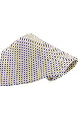 Soprano Yellow and Blue Small Checks Silk Pocket Square