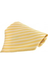 Soprano Yellow Striped Mens Silk Pocket Square