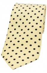 Soprano Yellow with Black Polka Dots Mens Printed Silk Tie